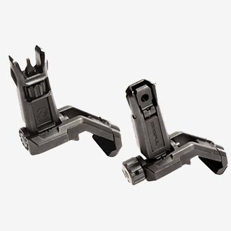 Magpul MBUS Pro Offset Front and Rear Flip-op backup sights.