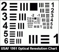 USAF 1951 optical resolution chart